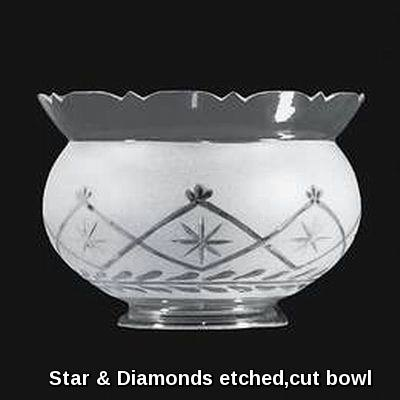 Stars & Diamonds etched glass oil lamp bowl shade
