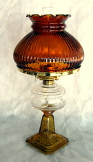 sold Atterbury Amber Star antique oil lamp