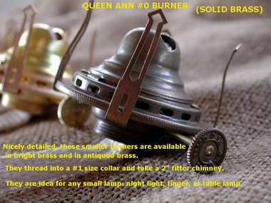 solid brass #0 Queen Anne oil lamp burner