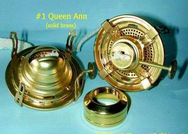 #1 solid brass Queen Anne oil lamp burner