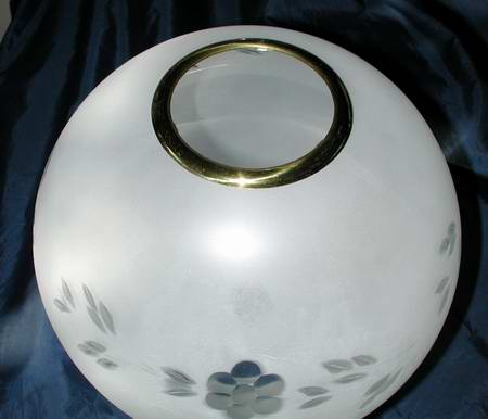 brass top ring oil lamp ball shade